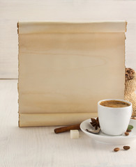 coffee concept on wood