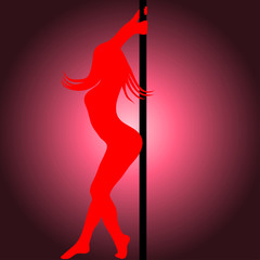 pole dancer silhouette. Vector illustration