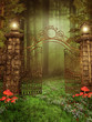 Brama na zielonej łąca z grzybami i kwiatami