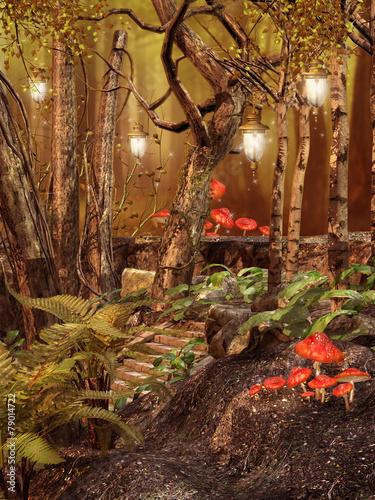 Zaczarowany las z lampionami