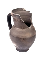 Isolated  brokenness clay vase
