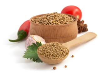 coriander spices in spoon on white