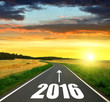 Asphalted road at sunset .Forward to the New Year 2016 - 79015371