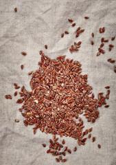 natural flax seeds on linen napkin