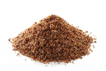 heap of crushed flax seeds
