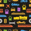 Vintage and modern vehicle color silhouettes seamless background