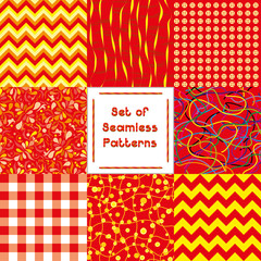 Set of abstract seamless backgrounds with red pattern