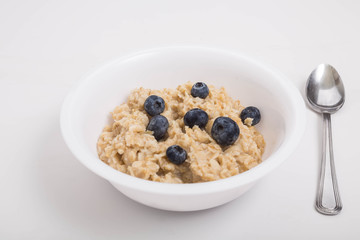 Bowl of Oatmeal with Fresh Blueberries