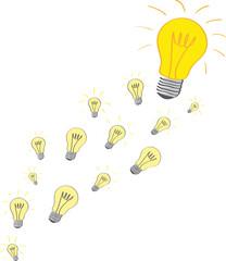 Denkprozess - viele Glühbirnen, Vektor