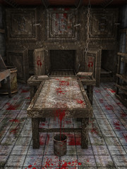 Zakrwawiony stół i wiadro w upiornej kostnicy