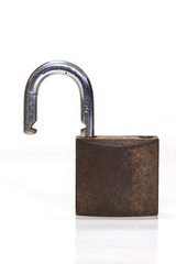 locked padlock over white background