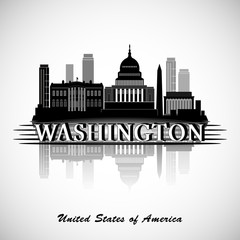 Washington DC Skyline Design. Vector silhouette