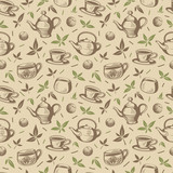 Fototapety Household Freehand Seamless Pattern on Tea