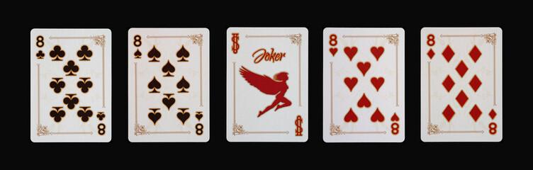 Spielkarten - Poker - Acht Vierlinge im Spiel