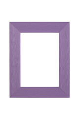 purple plastic picture frame with line pattern, isolated on whit