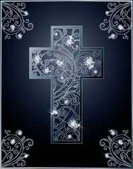 Diamond Easter cross greeting card, vector illustration