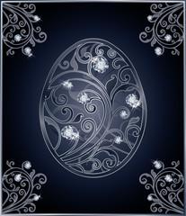 Diamond Easter egg invitation card, vector illustration