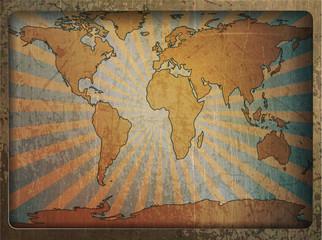 Vintage card world map