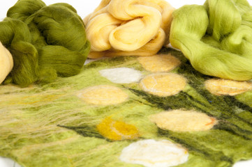 Felting activity - colorful wool slivers closeup