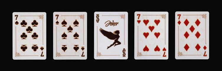 Spielkarten - Poker - Sieben Vierlinge im Spiel