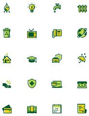 Paying bills icon set