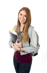 cute happy college student girl carrying books backpack