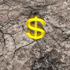 3d Illustration of Gold Dollar on Cracked Rock