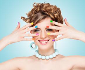 Woman with colorful  nail polish