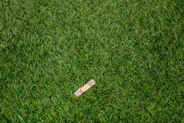 Adhesive plaster sticked to green grass