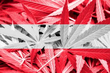 Austria Flag on cannabis background. Drug policy.