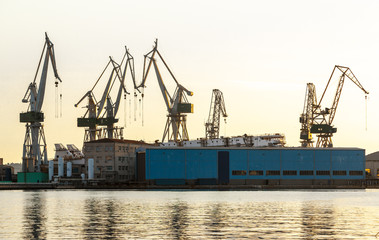 Port warehouse with cargoes