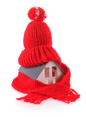 Miniature House with Red Wool Scarf Hat