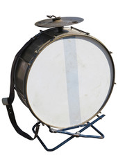 Vintage old bass drum  isolated on white background