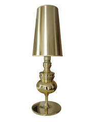 Modern looking yellow gold table lamp isolated over white