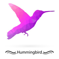Hummingbird with triangles of different colors. Raster