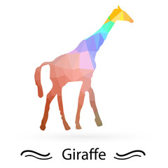 Giraffe with triangles of different colors. Raster