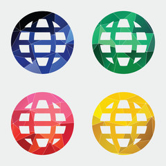 globe icon Abstract Triangle.
