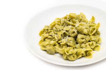 Sacchettini agli spinaci, italian pasta with spinach