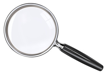 Magnifying Glass. Isolated magnifying glass. Black and metal.