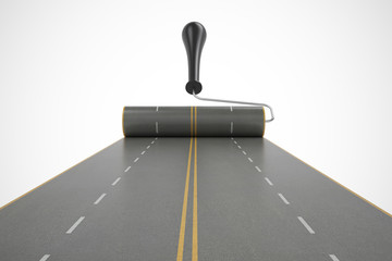 road isolated on white background. High resolution 3d