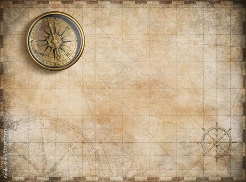 Foto op Aluminium Oude gebouw vintage golden compass with nautical map background