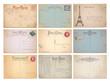 set of nine blank vintage vector postcards