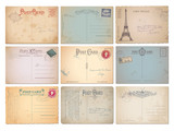 set of nine blank vintage vector postcards