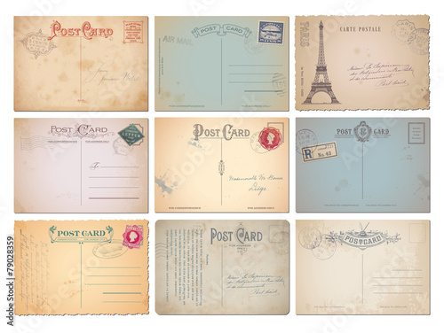 set of nine blank vintage vector postcards - 79028359