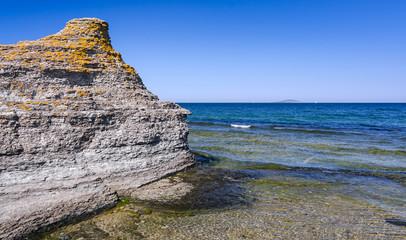 Byrum cliffs with Blue Virgin island on horizon