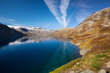 Norwegian mountain autumn landscape with lake