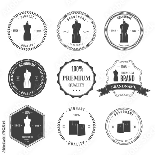 Fotobehang Retro Set vintage retro mannequin shopping badges