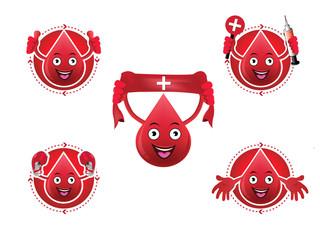Cartoon smiling blood icons set