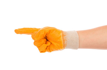 Hand in yellow rubber glove.