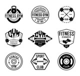 Vector Black and White Gym and Fitness Logo, Labels and Badges